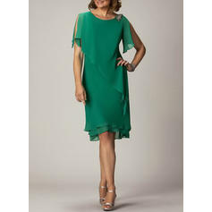 Solid Short Sleeves/Split Sleeve Shift Knee Length Party/Elegant Dresses