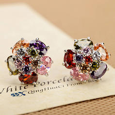 Shining Gold Plated Zircon Ladies' Fashion Earrings