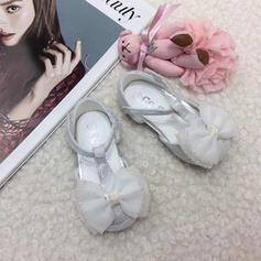 Vauvan Round Toe Ballet Flat Pitsi Flat Heel Matalakorkoiset Flower Girl Kengät jossa Bowknot Tarranauha