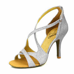 Women's Latin Heels Sandals Pumps Sparkling Glitter Latin