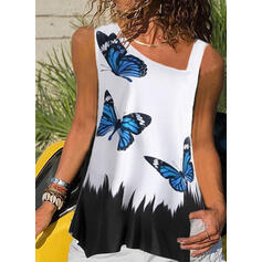 Print Sleeveless Casual Tank Tops