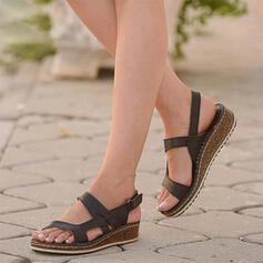 Femmes PU Talon bas Sandales À bout ouvert avec Velcro chaussures