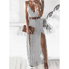 Striped Sleeveless Sheath Little Black/Casual Maxi Dresses