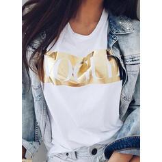 Print Rund hals Korte ærmer T-shirts