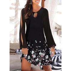 Print/Floral Long Sleeves/Cold Shoulder Sleeve Shift Above Knee Casual Dresses