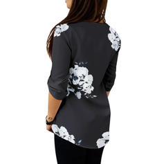 Impresión Floral Cuello en V Manga Larga Casual Elegante Blusas