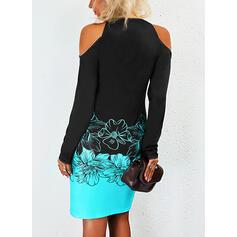 Print/Floral/Color Block Long Sleeves Cold Shoulder Sleeve Sheath Above Knee Casual Dresses