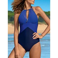Splice color Halter Elegant One-piece Swimsuits
