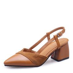Femmes Suède Similicuir Talon bottier Escarpins Bout fermé Escarpins avec Boucle chaussures