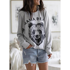 Animal Print Figure Round Neck Long Sleeves Casual T-shirts