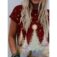 Impresión Cuello redondo Manga corta Casual Navidad Camisetas