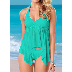 Solid Color Halter Sexy Fashionable Tankinis Swimsuits