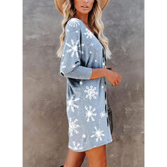 Print Long Sleeves Shift Above Knee Christmas/Casual T-shirt Dresses