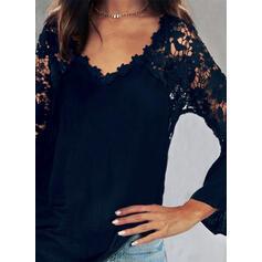 твердый кружевной V шеи Длинные рукова элегантный Блузы