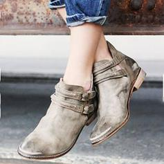 Women's PU Flat Heel Boots Ankle Boots With Buckle shoes