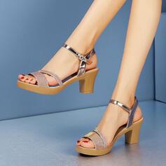 Mulheres PU Salto agulha Sandálias Bombas com Fivela sapatos