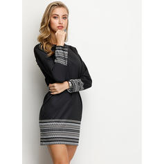 Print Long Sleeves Sheath Above Knee Little Black/Casual Dresses