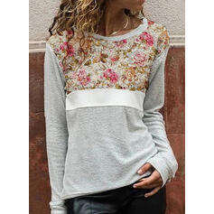 Print Color Block Floral Round Neck Long Sleeves Casual Blouses