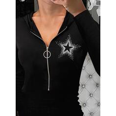Solid Sequins Hoodie Long Sleeves Casual Blouses