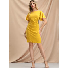 Solid Short Sleeves Sheath Above Knee Party/Elegant Dresses