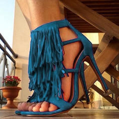 Femmes PU Talon stiletto Sandales Escarpins avec Tassel chaussures