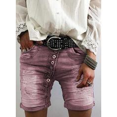 Patchwork Pockets Sexy Skinny Shorts