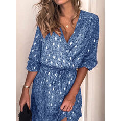 Print 1/2 Sleeves Sheath Above Knee Casual Wrap Dresses