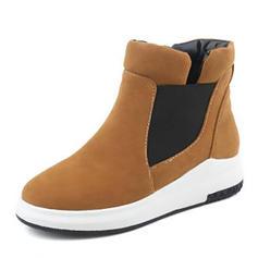 Frauen Veloursleder Flascher Absatz Flache Schuhe Stiefelette mit Zweiteiliger Stoff Schuhe