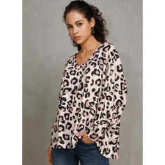 Leopard V-Neck 3/4 Sleeves Casual T-shirts