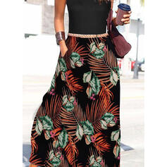 Print/Floral Sleeveless A-line Skater Casual/Vacation Maxi Dresses