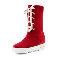 Femmes Suède Talon plat Bottes Bottes mi-mollets Bottes neige avec Bande élastique chaussures