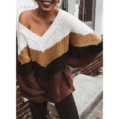 Color Block Chunky knit One Shoulder Casual Sweaters