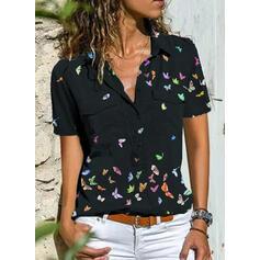 Hayvan baskı klapa Kısa kollu Düğmesiz Yakalı Günlük Gömlekler