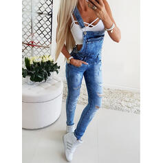 Shirred Ripped Long Sexy Plain Denim & Jeans Jumpsuits & Rompers