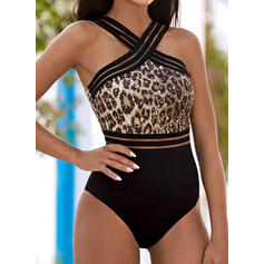 Leopard Print Halter High Neck Sexy Fresh One-piece Swimsuits