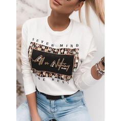 Figura Nadruk cekiny Okrągły dekolt Długie rękawy T-shirty