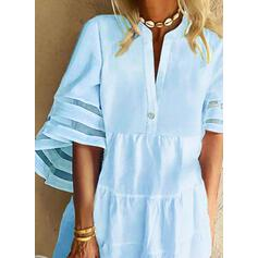 Solid 1/2 Sleeves/Flare Sleeves Shift Above Knee Casual/Vacation Dresses