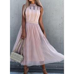Sólido Encaje Sin mangas Vestido línea A Patinador Elegante Midi Vestidos