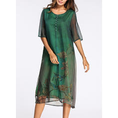 Print Round Neck Knee Length Shift Dress