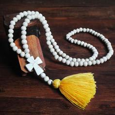 élégant Simple Perles en bois avec Glands Femmes Colliers