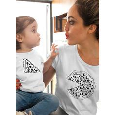 Dessin Animé Inmprimé Tenue Familiale Assortie T-shirts
