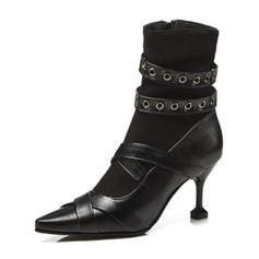 Dla kobiet Skóra ekologiczna Obcas Stiletto Czólenka Kozaki Z Tkanina Wypalana obuwie