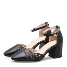 Naisten Keinonahasta Chunky heel Sandaalit Avokkaat Suljettu toe Mary Jane jossa Solki kengät
