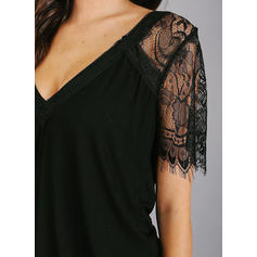 Solid Lace V-Neck Short Sleeves Casual T-shirt