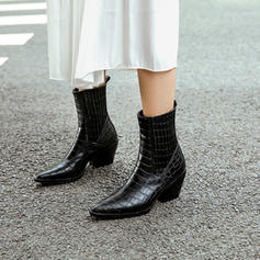 Women's Leatherette Cone Heel Pumps Boots Mid-Calf Boots With Split Joint shoes