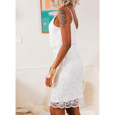 Lace/Solid Sleeveless Bodycon Above Knee Party/Elegant Slip Dresses
