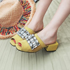 Women's Suede Chunky Heel Sandals Pumps Peep Toe Slingbacks With Rhinestone shoes