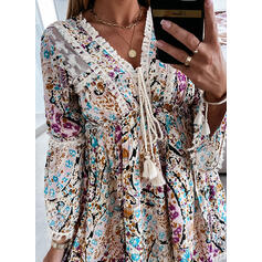Print/Floral/Tassel/Lace-up 3/4 Sleeves/Flare Sleeves Shift Above Knee Casual Tunic Dresses