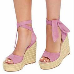 Mulheres Tecido Plataforma Sandálias Calços com Outros sapatos