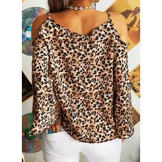 Leopard Kalte Schulter Schlagärmel Lange Ärmel Freizeit Blusen